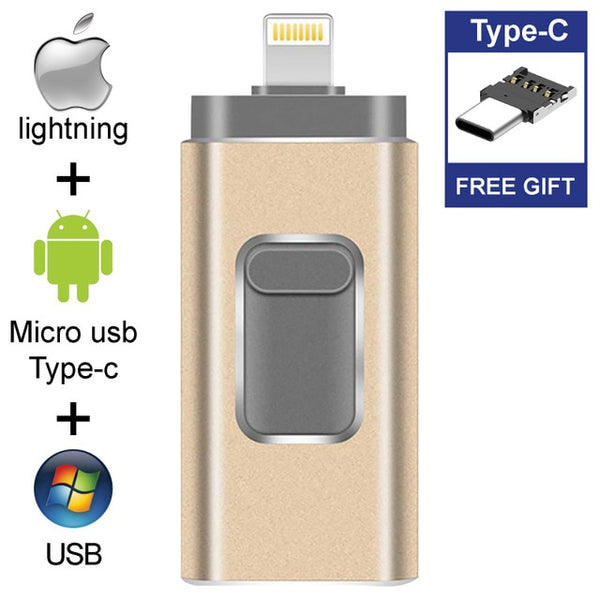 4 IN 1 USB-Stick - lightning, micro-usb, usb, usb type-c