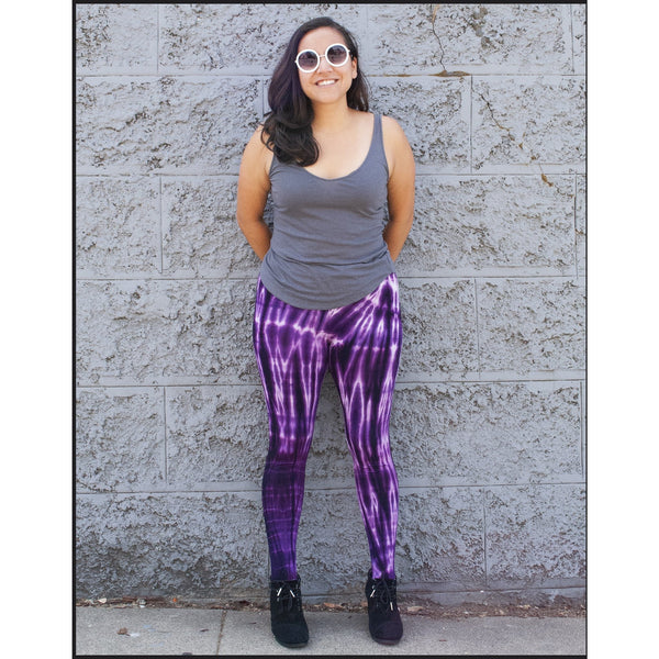 Purple Long Tie-dye Leggings
