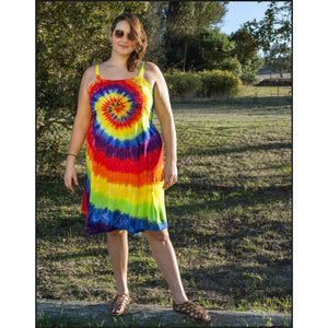 Rainbow Spiral tie-dye A-ine Dress