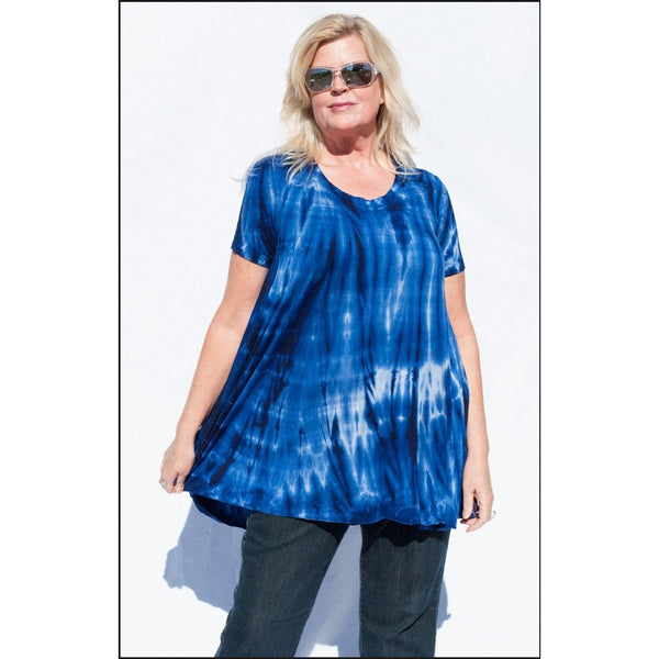 Blue Tie-dye Top with Sleeves
