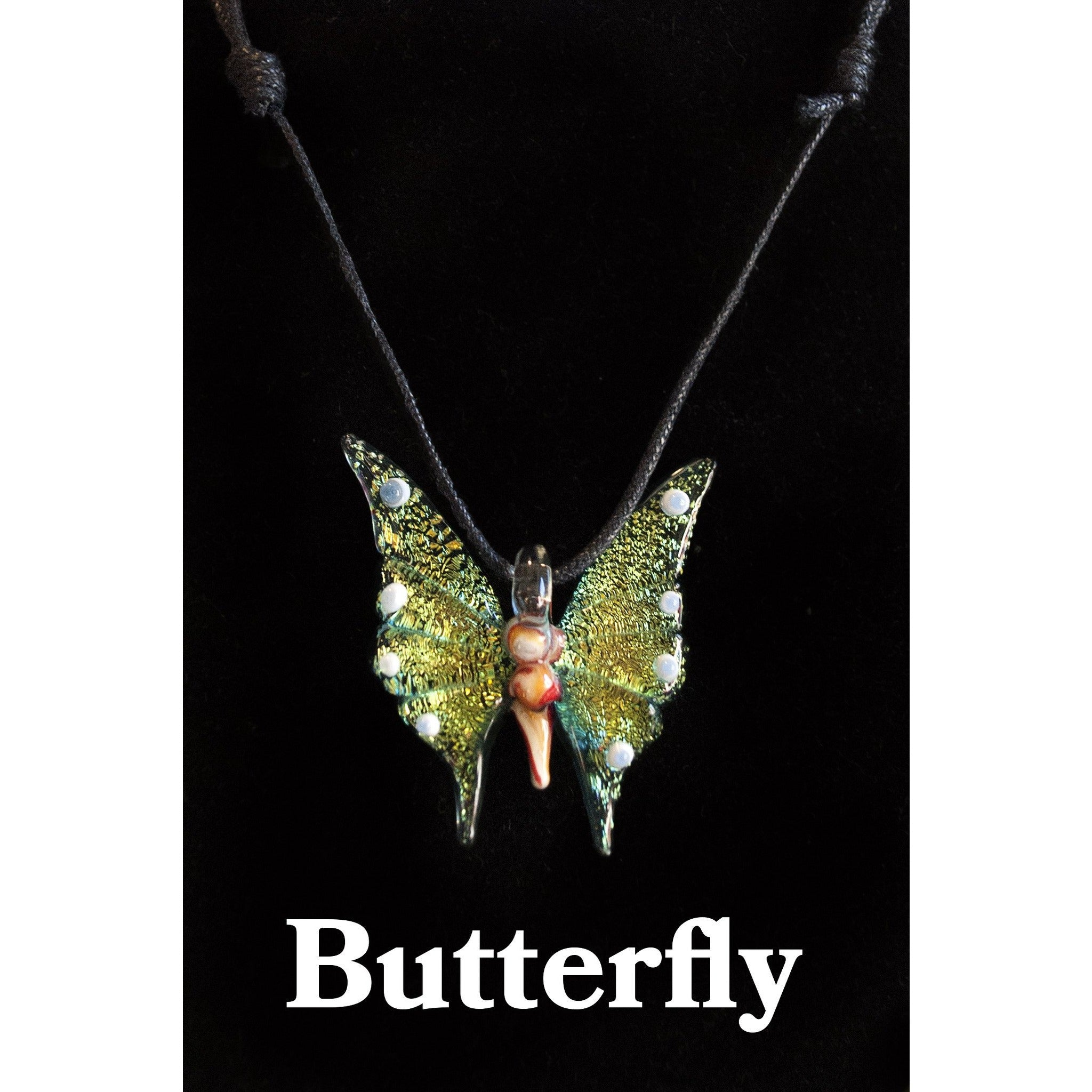 Butterfly Glass Necklace - Cali Kind Clothing Co.