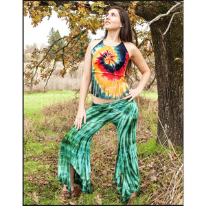Fairy pants in Green Fossil tie-dye