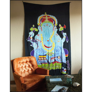 Hand painted Ganesha Tapestry in single