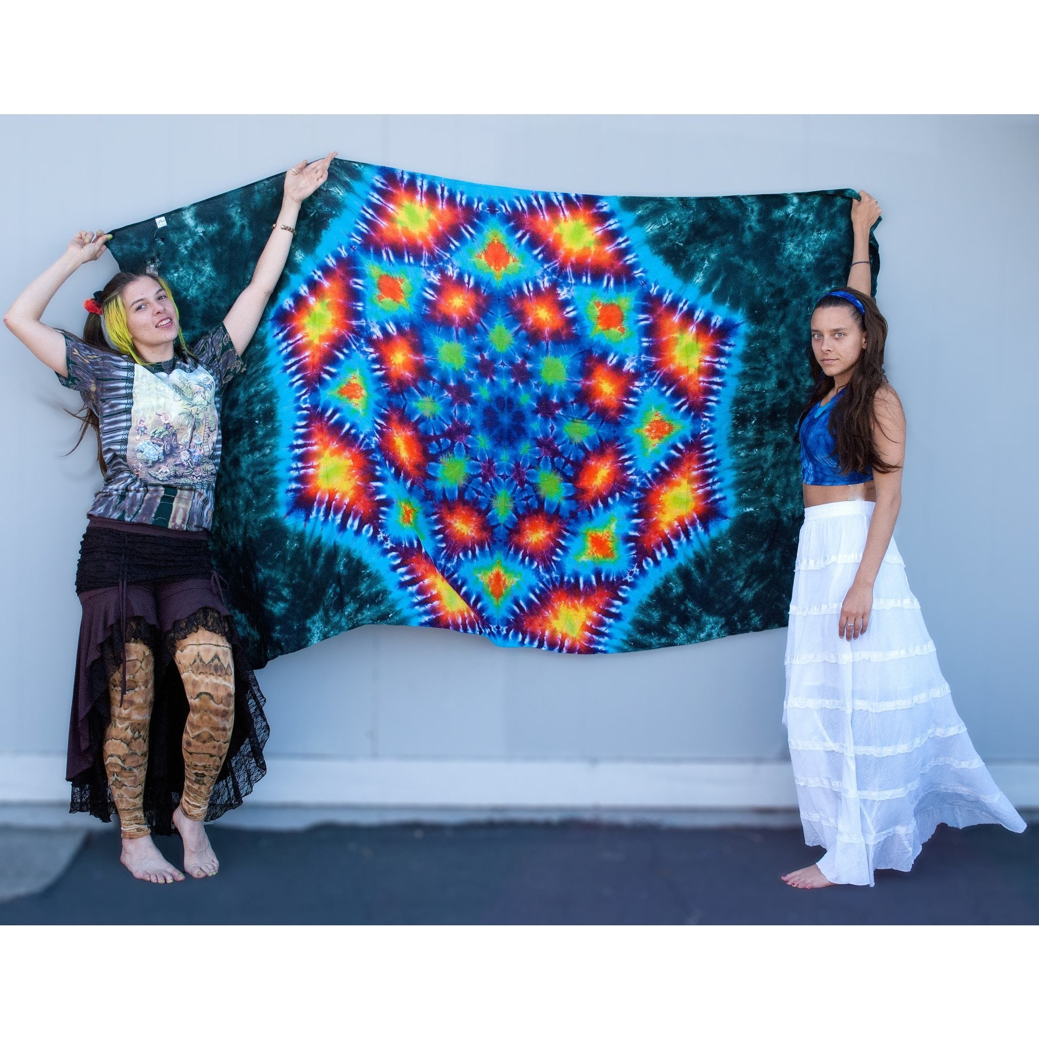Rainbow Lotus Single Tapestry: Green - Cali Kind Clothing Co.