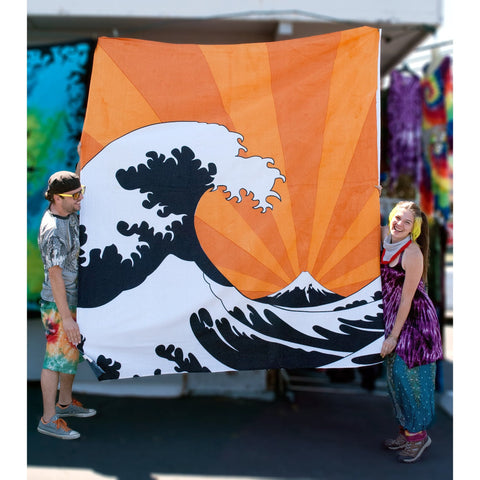 Japanese Woodcut Wave Double Tapestry - Cali Kind Clothing Co.