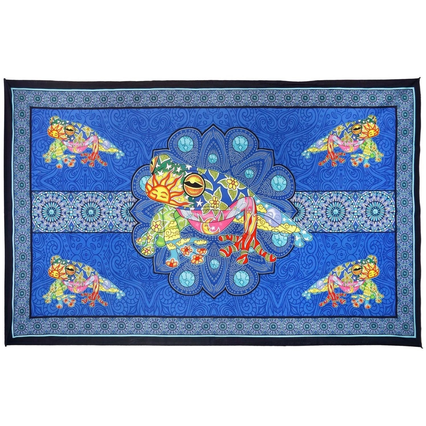 3D Psychedelic Frog Tapestry