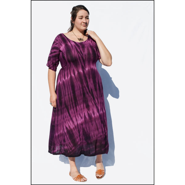 Purple Babydoll Cap Sleeve Dress, Tie-dye Dress