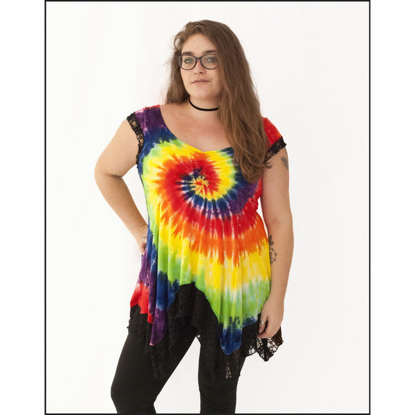 Rainbow Spiral Molly Top, Tie-dye Top