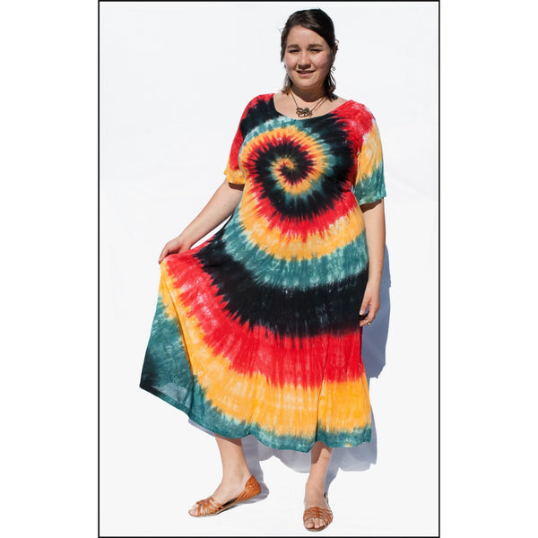 Rasta Spiral Babydoll Cap Sleeve Dress, Rasta tie-dye dress