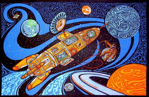 3D Blast Off Outer Space Tapestry