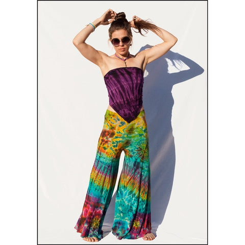 Tropical tie-dye wide leg pants
