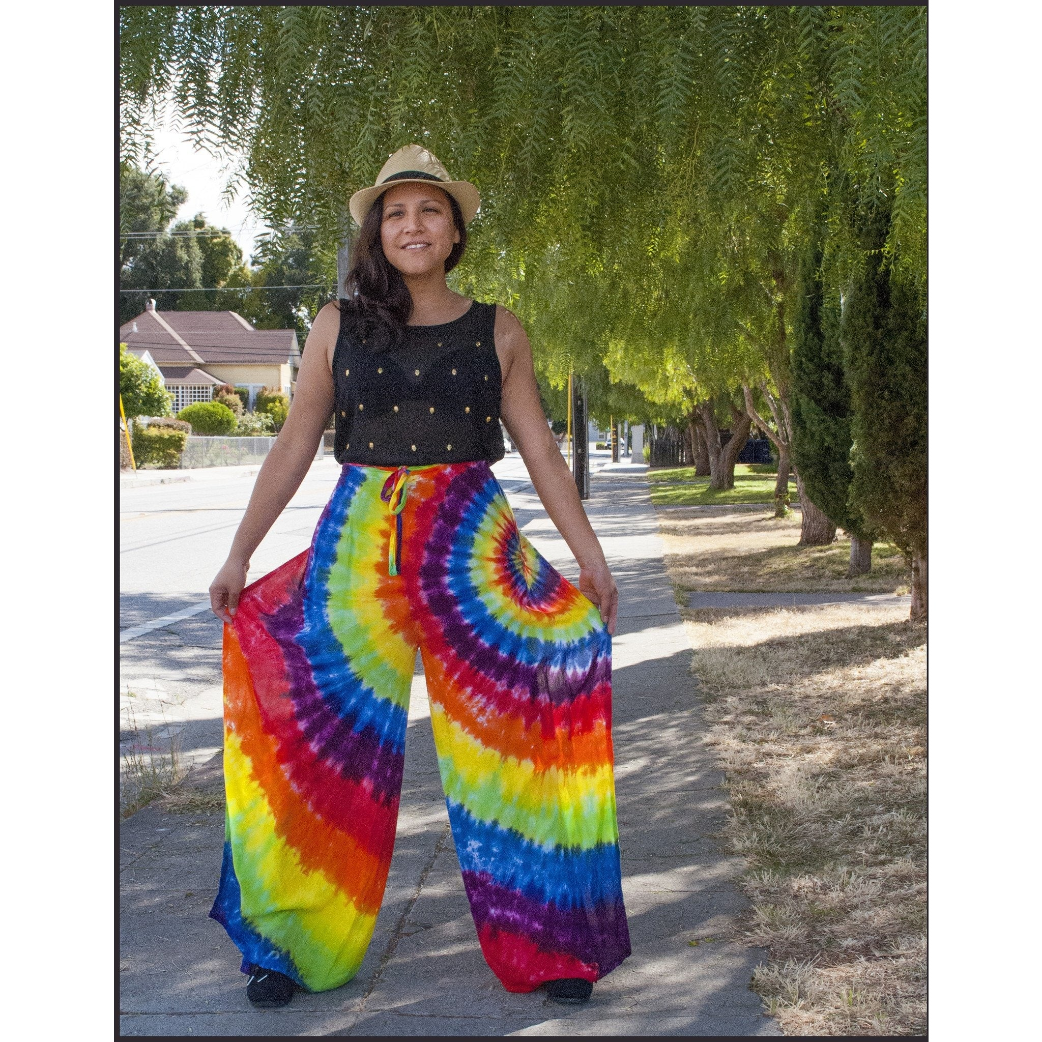 Rainbow Spiral Wrap Pants by Cali Kind Tie-dye