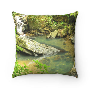 La Mina river and trail Paradise Pond  - El Yunque rain forest PR - Spun Polyester Square Pillow