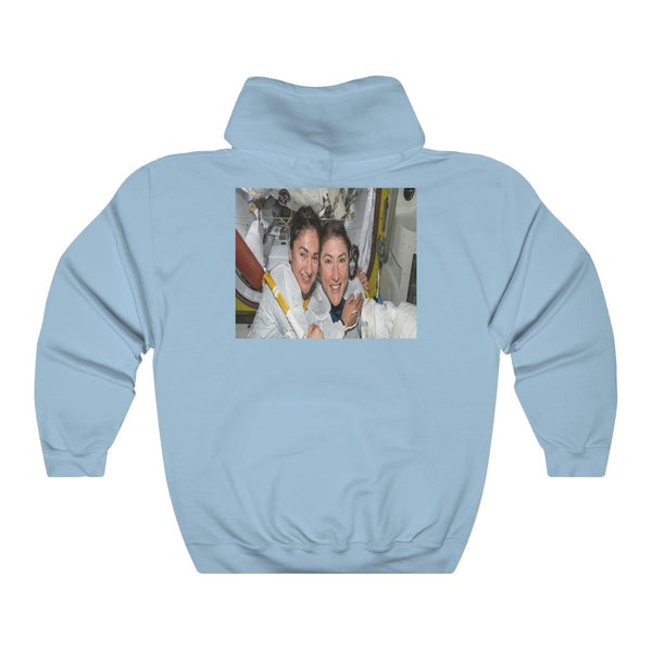 Historic Space DEAL $28 - Gildan 18500 - Unisex Hooded Sweatshirt - Astronaut Christina Koch back on Earth after record-breaking 328 days in space - Christina  and Jessica on back