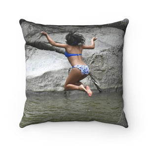 Jump into Rio Blanco Pond - El Yunque rain forest PR - Spun Polyester Square Pillow