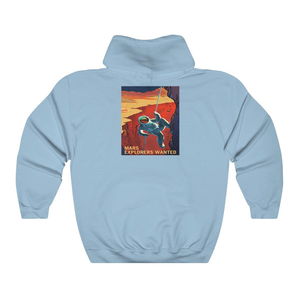 Historic Space DEAL $28 - Gildan 18500 - Unisex Hooded Sweatshirt - Astronaut Christina Koch back on Earth after record-breaking 328 days in space - Mars explorers on back