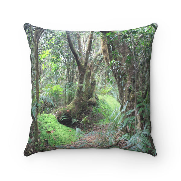 Holy Spirit river explorations - Paradise path in Tradewinds - El Yunque rain forest PR - Spun Polyester Square Pillow