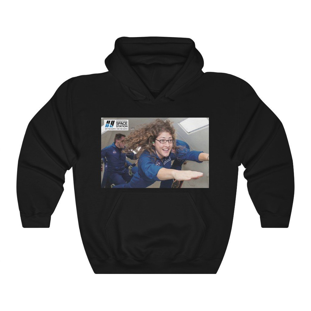Historic Space DEAL $28 - Gildan 18500 - Unisex Hooded Sweatshirt - Astronaut Christina Koch back on Earth after record-breaking 328 days in space - Christina and Jessica on back - SingleClick.store