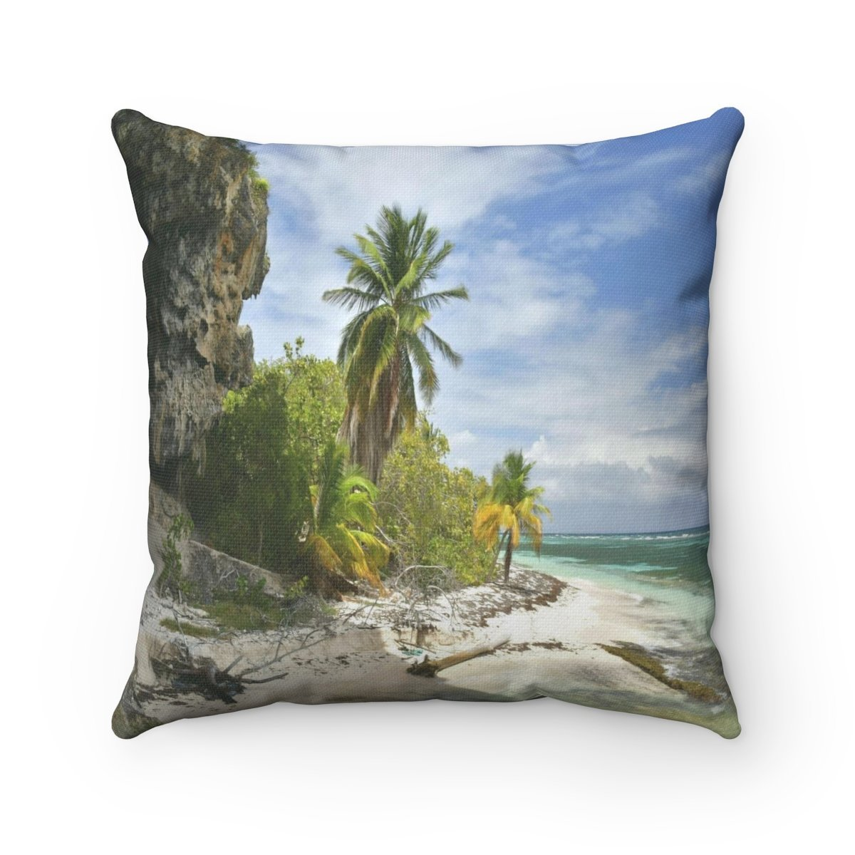 Remote Mona Island Pajaros Beach edge next to cave - Spun Polyester Square Pillow (bundle) - SingleClick.store