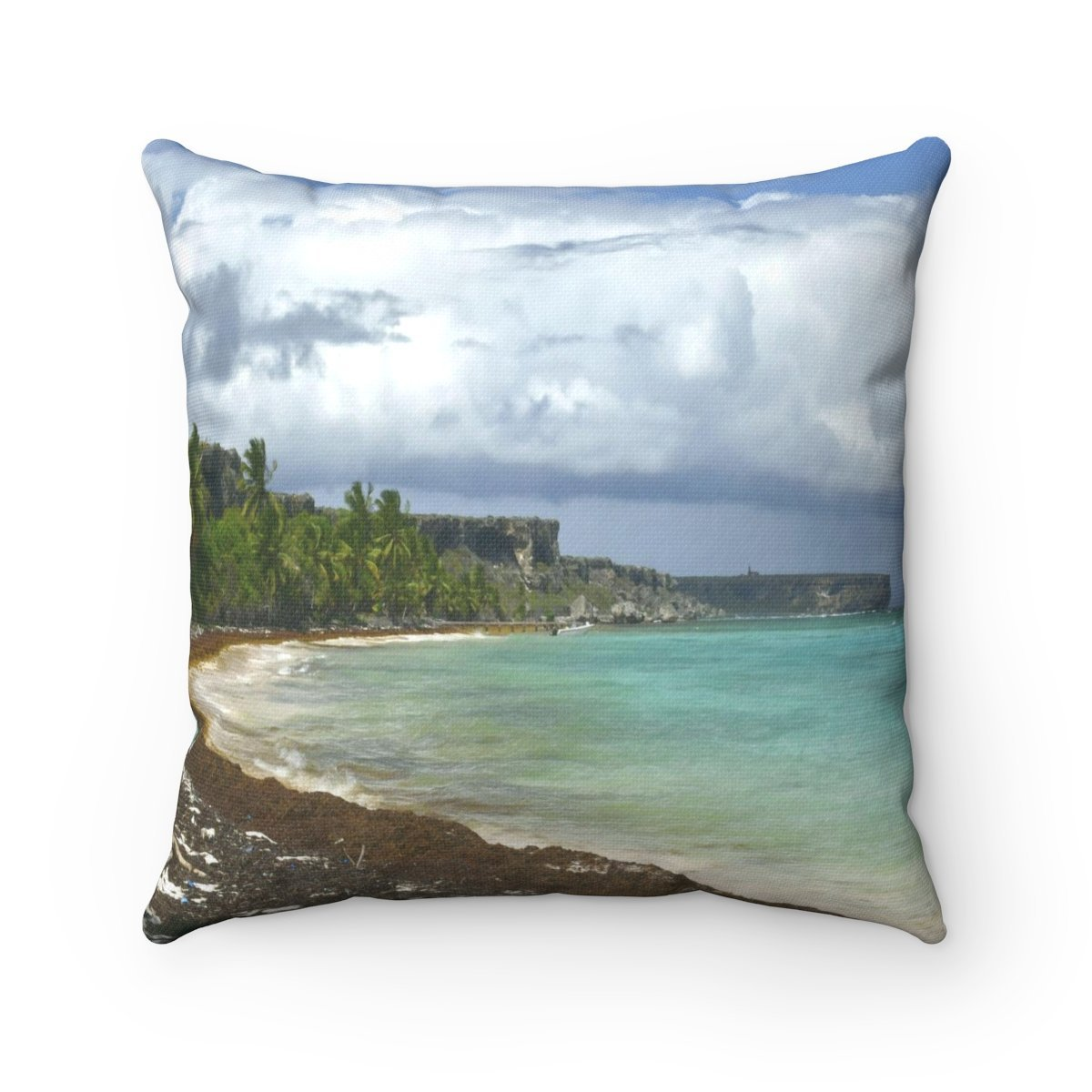Remote Mona Island Pajaros Beach view of Plateu - Spun Polyester Square Pillow - SingleClick.store