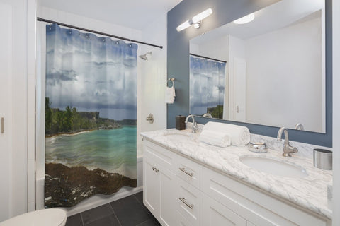 Shower Curtains - Breathtaking Mona Island pajaros beach on YOUR shower - SingleClick.store
