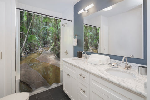 Shower Curtains - Bring an awesome remote river view home - Holy Spirit river explorations - El Yunque PR - SingleClick.store