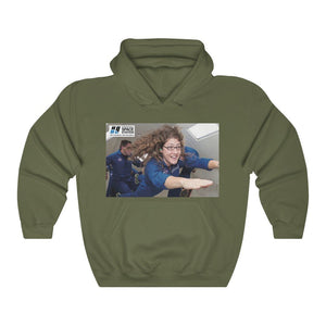Space DEAL $28 - Gildan 18500 - Unisex Hooded Sweatshirt - Astronaut Christina Koch back on Earth after record-breaking 328 days in space - ISS over PR, DR - SingleClick.store