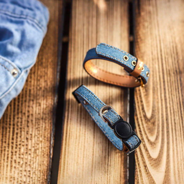 Light Wash Denim Cat Collar