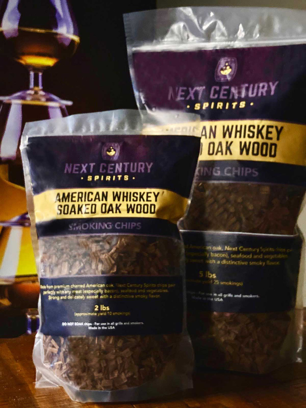 American Whiskey Soaked Oak Wood Smoking Chips - Combo Gift Pack