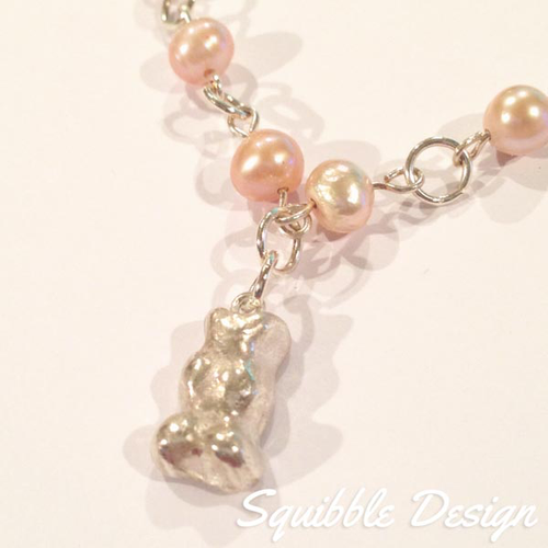 Fine Silver Pink Pearl Gummy Bear Necklace