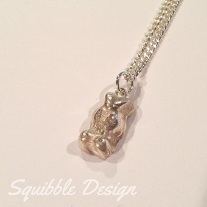 Hand-crafted Fine Silver Gummy Bear Pendant