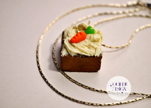 Tiny Carrot Cake Necklace