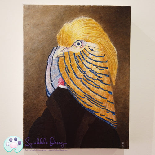 Oil Painting - Mr Golden Pheasant | Victorian Animal Family