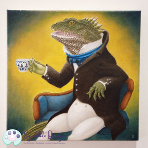 Oil Painting - Mr Tuatara | Victorian Animal Family