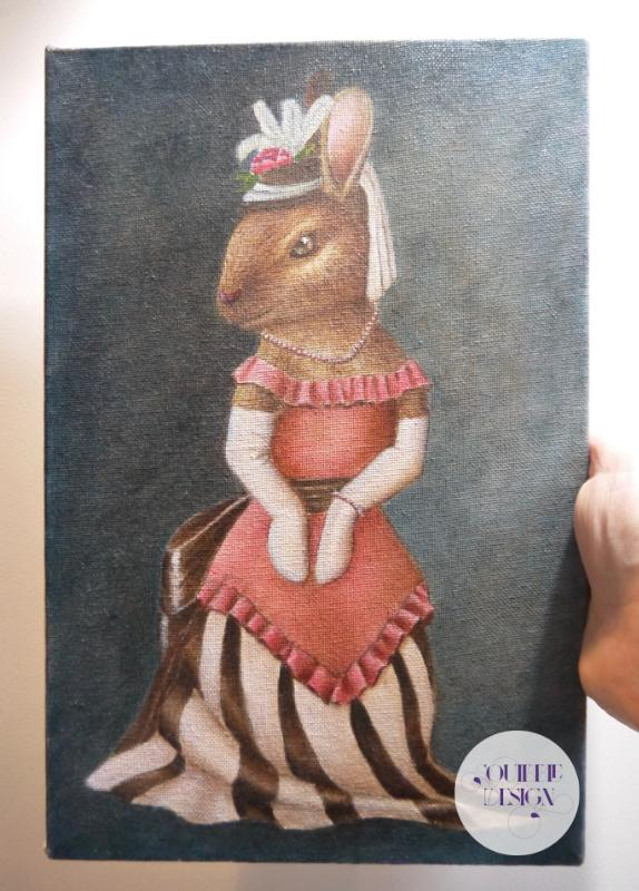 Oil Painting - Miss Bunny | Victorian Animal Family