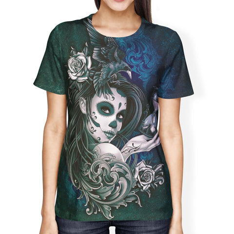 Female Sugar Skull Face Ladies' T-shirt