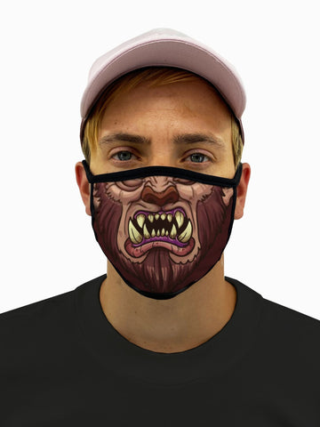 Wolf Man Werewolf Face Mask With Filter Pocket
