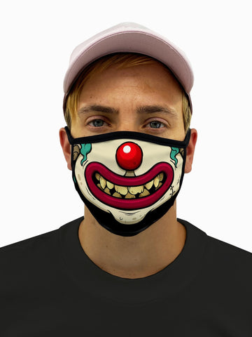 Clown Face Smile Face Mask With Filter Pocket