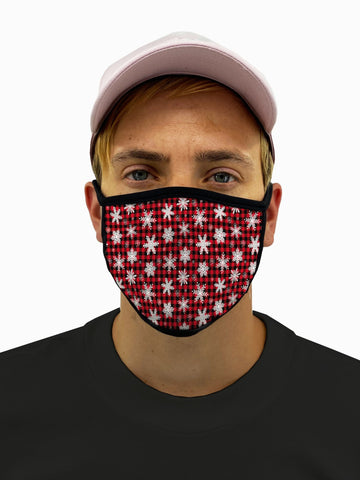 Plaid Snowflakes Face Mask With Filter Pocket