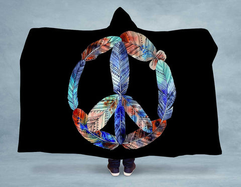 Feather Peace Hooded Blanket