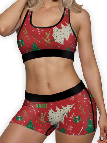 Christmas Wrap Ellie Sports Bra