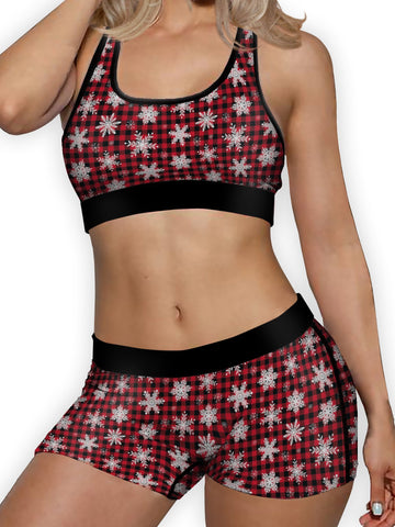 Christmas Snowflakes Ellie Sports Bra