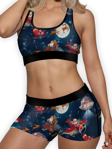 Christmas Santa In Space Ellie Sports Bra