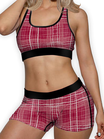 Red Plaid Ellie Sports Bra