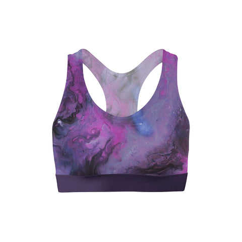 Dark Purple Liquid Sports Bra
