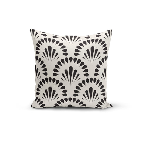 Black Cream Floral Pillow Cover