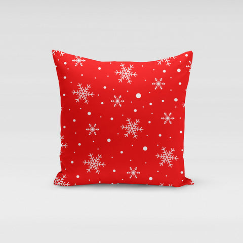 Red Snow Flakes Pillow Cover