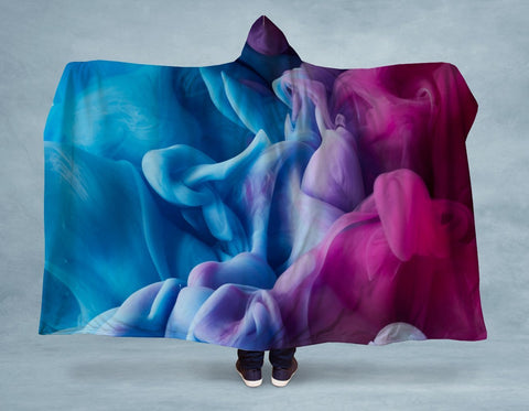 Blue Pink Ink Hooded Blanket