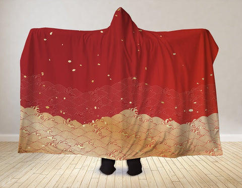 Japanese Wave Hooded Blanket