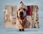 Golden Retriever Santa Hooded Blanket